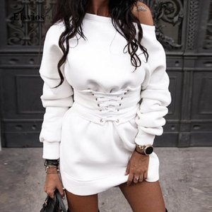 Winter Warm O Neck Sweatshirt Dress Women Casual Autumn Long Sleeve Mini Dress Sexy Off Shoulder Lace-Up Bandage Party XL