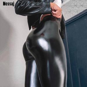 NESSAJ Negro Verano PU Pantalones de cuero Mujeres Mujeres Alta Cintura Pulso Push Up Leggings Sexy Pantalones Elásticos Estirar Plus Tize Jeggings Y200107