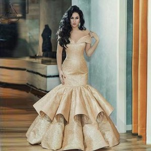 2020 Sparkly Champagne Gold Evening Dress Mermaid Off the Shoulder Ruffled Prom Dresses Pageant Formal Party Gowns Abendkleider