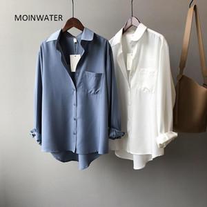 Moinwater Yeni Kadın Mavi Gömlek Lady Moda Taklit İpek Beyaz Gömlek Kadın Siyah Bluz Tops MST2011