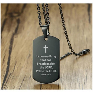Библейское стиховое ожерелье кросс из нержавеющей стали мужское ожерелье собака подвесной религиозные украшения черный для христианского молитвенного подарка 4UVGC