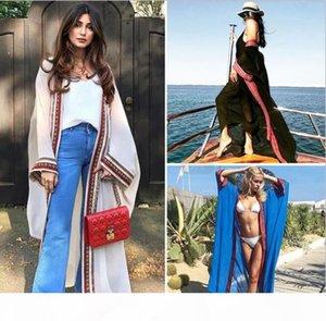 Women Plus Size Embroidered Summer Beachwear Cover Ups Long Cardigan Blouses Chiffon Kaftan Beach Tunic Bath Dress Robe Swim Wear Cover-Ups