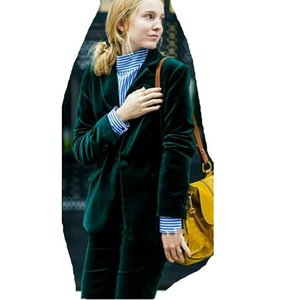 Green Women Ladies Formal Pant Suit Velvet Blazer Prom Party Business Work Wear Custom size and color