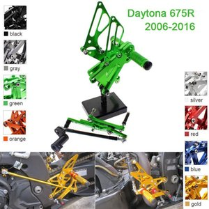 CNC Aluminum Adjustable Rearsets Foot Pegs For Daytona 675R 2006 2007 2008 2009 2010 2011 2012 2013 2014 2015 20161