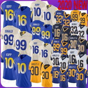 30 Todd Gurley Football Jerseys 99 Aaron Donald 10 Kupp 16 Jared Goff 32 Eric Weddle 2020 Nouvelle Qualité Jerseys Gurley Donald Goff Wikeddle
