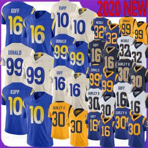 30 Todd Gurley Football Jerseys 99 Aaron Donald 10 Kupp 16 Jared Goff 32 Eric Weddle 2020 جديد أعلى جودة الفانيلة جورلي دونالد غوف