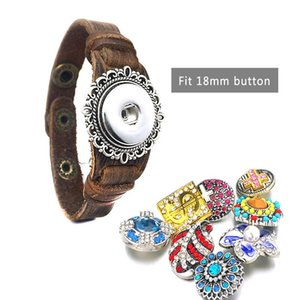 Punk Rock Interchangeable 242 Real Original Genuine Leather Retro Fashion 18mm Snap Button Bracelet Charm Jewelry For Women Gift