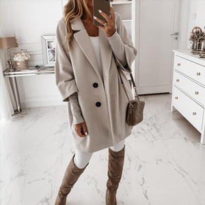 Women Casual Autumn Winter 3 4 Sleeve Pockets Buttons Long Coat Loose Jacket female girls ladies coats