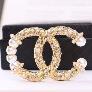 Design classique perle lettre Prooch Vintage Strass Broches Pin imitation perle pour femme bijoux