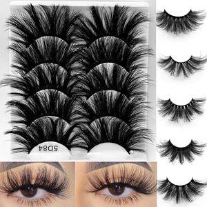 NEW 5 Pairs 3D Mink Hair False Eyelashes Criss-cross Wispy Cross Fluffy 25mm Lashes Extension Handmade Eye Makeup Tools