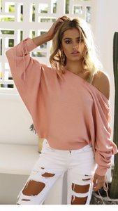 2017083102 Sexy Sweaters Women Slash Neck Pullover Long Batwing Lace Up Sleeve Casual ponchos mujer 2017 sueteres mujer invierno