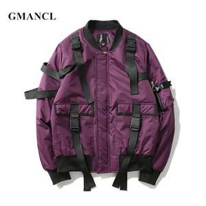 High quality Men Autumn winter Thick warm Multi-pocket Ribbon design bomber jacket Streetwear Man Oversized casual Parka coats 201130