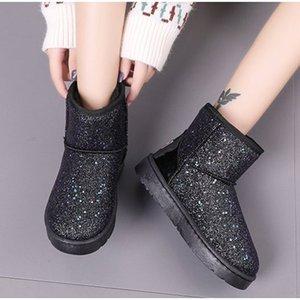 Donne stivali da neve glitter donna nuovo caldo corto corto peluche morbido signore caviglia avvio inverno pelliccia di inverno piattaforma femminile casual scarpe Y200114
