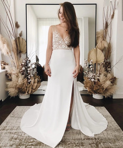 Charming Sheath Wedding Dress Sexy Chiffon Appliques Bridal Gowns Sweep Train Sleeveless Deep V-Neck Backless Simple Beach Women Dresses