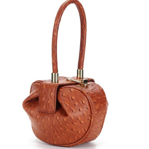 Celebrity Small Nina Demi Bag Genuine Leather in Ostrich Effect Designer Inspired Handbags Women Top Handle bag Tote Purse