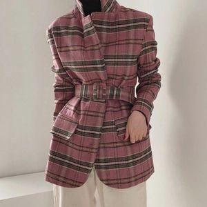 [EWQ] 2020 Autumn Winter Female Turn-down Collar Long-sleeved Minimalist Patchwork Plaid Woolen Suit Coat With Belt Pink Jacket