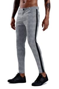 Pantalon à carreaux de mode hommes streetwear hip hop pantalon skinny chinos pantalon slim ajustement pantalon décontracté joggeurs camouflage gymnase de gymnastique