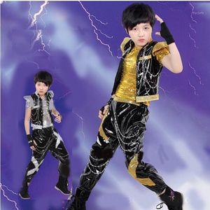 Boy's Jazz Dance Traje Conjunto Novo Kids Sequin Top Harem Calças Conjuntos Moda Mordern Crianças Hip Hop Vestuário1