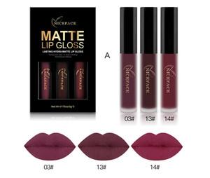 3PCS Liquid Lipstick Set Long-Lasting Matte Lip Stick Make Up Waterproof Velvet Batom Nude Sexy Lip Gloss Cosmetics Kit 0395