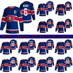 Montreal Canadiens 2021 Ters Retro Jersey 14 Nick Suzuki 6 Shea Weber 31 Carey Fiyat 11 Gallagher 15 Kotkaniemi Özel Hokey Formaları