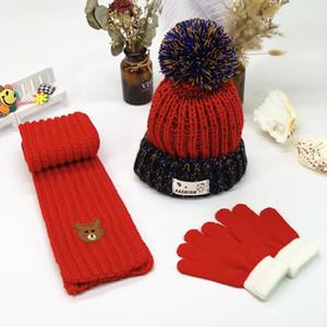 Kids Designer Hat Scarf Gloves Set Boys Girl Winter Warm Knit Pom Ball Beanies Cap Baby Knitted skull Caps DHE2886
