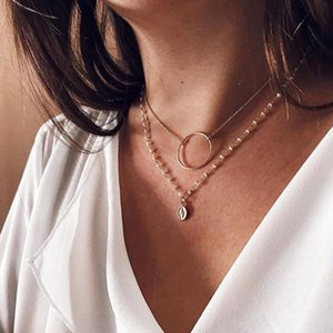 Vintage Gold Color Jesus Coin Pendant Necklaces for Women Imitation Pearl Beads Circle Choker Necklace Statement New Arrival