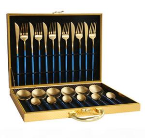 Durée de vaisselle Ensemble de dînettes en or bleu 18 10 Dîner en acier inoxydable Couteau à fourche Blanc Gold Cutlery Set Rose avec cadeau