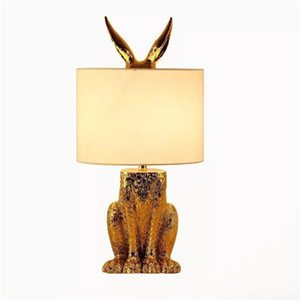 Rabbit Table Lamps Gold Lampe Night Lights LED Desk Light 24 by 49cm Bedroom Bedside American LED Table Lamps for Home Office