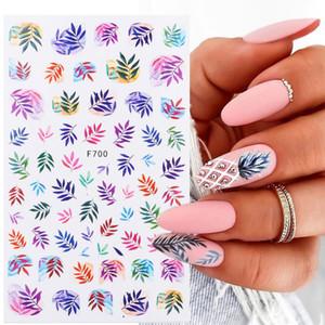 1 Sheet 3D Watercolor Gradient Flowers Nail Sticker for Nail Art Leaf Colorful Design Slider Wrap Deceals Decoration