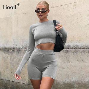 Liooil Knitwear Two Piece Tight Set Sexy Crop Tops And Shorts 2021 Autumn Long Sleeve O Neck High Waist Women Matching Suit Set