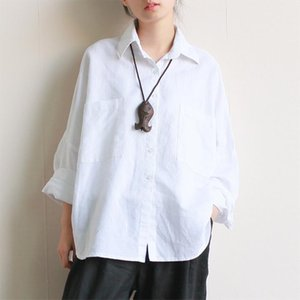 Johnature Women Summer 2020 New Vintage Shirts Cotton Linen Breathable Comfortably Solid Turn down Collar Loose Blouse