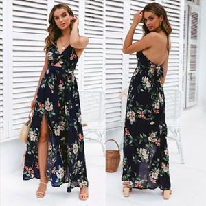 2020 Fashion Women Sleeveless Boho Floral Print Long Maxi Dress Sleeveless Evening Party Summer Beach Sundress Dresses Summer