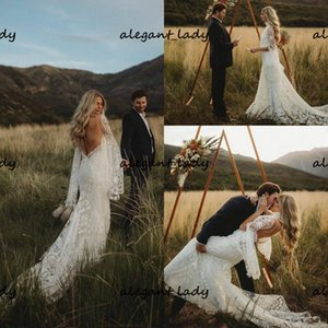 High Neck Countryside Boho Wedding Dresses 2021 Bell Sleeve Vintage Crochet Lace Hippie Backless Wedding Gown vestidos de novia