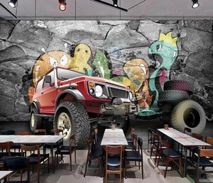 Custom 3D Mural Wallpaper Restaurant Wall paper Mural Painting Personality Trend Off-road Vehicle 3D Background Wall