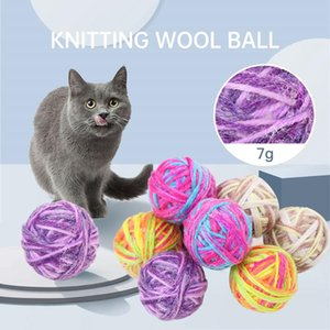5cm Cotton Knitting Woolen Rope Playing Ball Pet Dog Cat Bite Ball Squeak Molar Toys Puppy Pet Healthy Chew Toy Color Random
