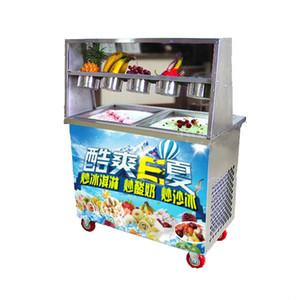 1800W Fried ice cream machine single pan with defrost plate single pan freezer ice pan machine 110V 220V
