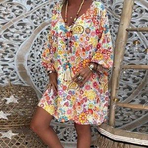 Womens Summer Dress Casual Floral Print Boho Dress Vestidos Sexy Deep V Neck Long Sleeve Party Dresses Vintage Loose Sundress