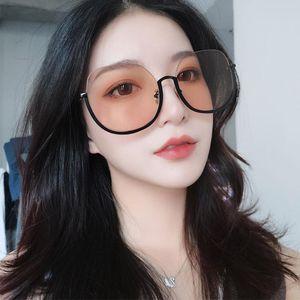 Güneş Gözlüğü Boy Trendy Güneş Gözlükleri Yarım Çerçeve Kadın Erkek Turuncu Pembe Siyah Lens Gözlük Oval Sunglases UV400