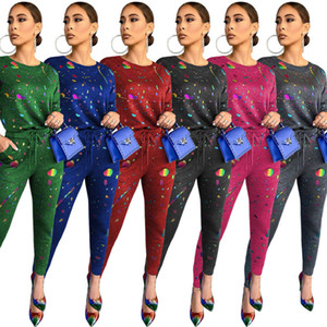 Women Designers Clothes 2020 Tracksuit Fashion Printed T-shirt Long Sleeve Pants Set Two Piece Outfits Casual Sportswear Hot Sale