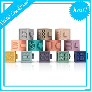 3d educational food grade emboss baby stacking toys silicone building blocks