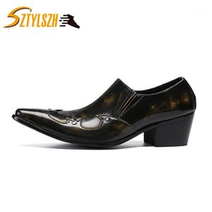 Haute talon Hommes Chaussures pointues Toe Cuir robe Chaussures Slip-On Classic Retro Bronze Business Men Business Party1