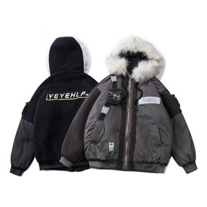 Guochao stitched lamb wool cotton clothing winter street work clothes ins super fire warm couple clothes wool collar cotton coat 07SD