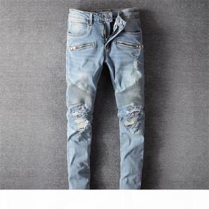 2020 Clothing Pants Men Women T Shirts Panther Print Army Green Destroyed Mens Slim Denim Straight Biker Skinny Jeans Men Ami18