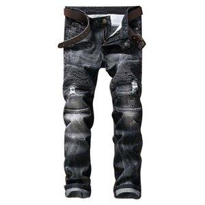 Jeans Denim Männer Europäische und amerikanische Trend Falten Mode Straight Folds Hip Hop Pants Marke Four Season Herren Jeans