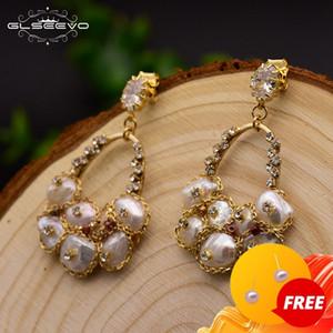 GLSEEVO 925 Silver Ear Pin Natural Fresh Water Baroque Pearl Drop Earrings For Women Wedding Dangle Earrings Jewellery GE0324 Z1128