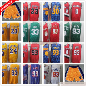 Mitchell Retro Ness cosido 93 Jerseys de baloncesto para hombre Blanco Red Top # 93 Monts y Monkeys Jersey Curry Lillard