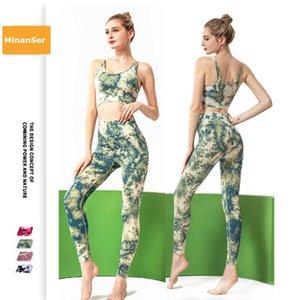 Minanser Tracksuit 피트니스 요가를위한 여성 의류 레깅스 2 개 세트 체육관 운동 훈련 여성 의류 운동복