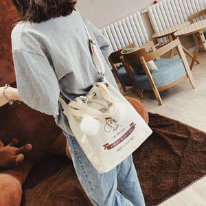 MAIOUMY New Shoulder Bags Woman Casual Canvas Single ShoulderBag School Student Notebook Bag Multi-functional Cute Ladies Totes