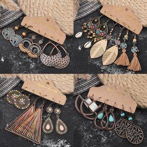 Boucles d'oreilles de Bohème ethnique pour femmes Feuille géométrique Vintage creux de mode creuse en bois de coton en bois de coton en bois sculpté ornements tannages1