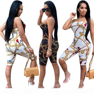 2018 Spring Summer Hot European and American Women's New Fashion Print Tube Top Casual Jumpsuit Free Shipping